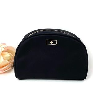 Kate ♠️Spade Medium Dome Cosmetic Canvas Bag Black